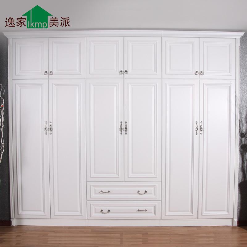 简欧式田园模压 整体木质定制衣柜定做
